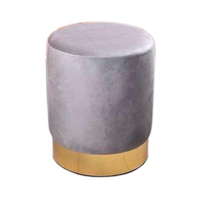 پاف مخمل تشک خاکستری با پایه طلایی