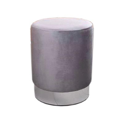 پاف مخمل تشک خاکستری با پایه نقره ای