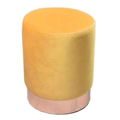 پاف مخمل تشک زرد با پایه طلایی