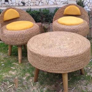 صندلی حصیری تشک زرد