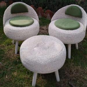 صندلی حصیری تشک سبز یشمی