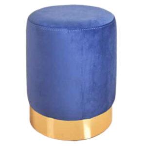 پاف استوانه ای مخمل تشک آبی کاربنی