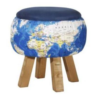پاف چوبی تشک آبی طرح کره زمین