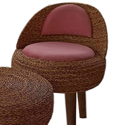 صندلی حصیری تشک صورتی کالباسی